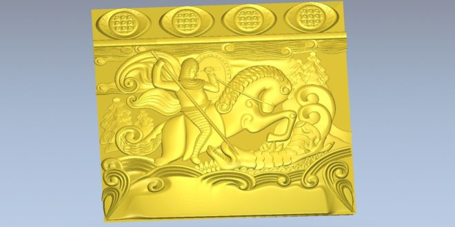 3D Relief saint jorge and the dragon stl cnc model 1580