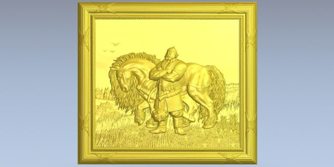 3D cnc router file warrior and his horse 1581