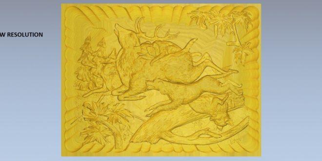 Free download 3d cnc relief carving files dog deer hunter 1587