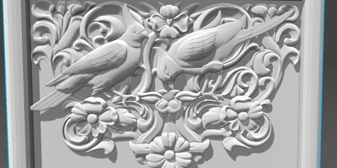 Picture frame 3d birds nature floral rose 1599