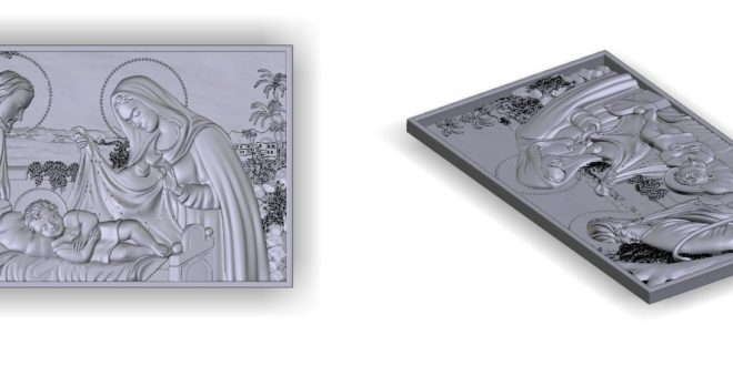 3D Relief cnc file the birth of christ christmas stl 1600