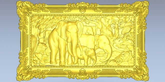 Elephants 3d frame carving wood cnc file 1607