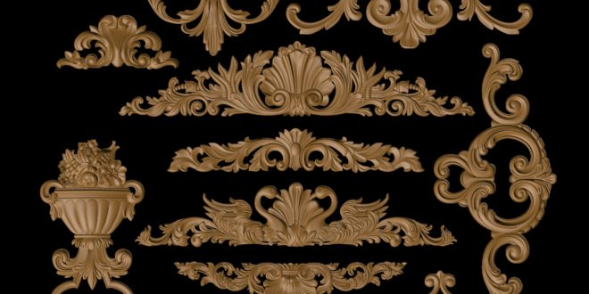 Pack with 11 ornaments 3d relief floral stl 1611