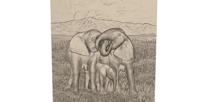 3d frame elephants jungle relief cnc file 1615