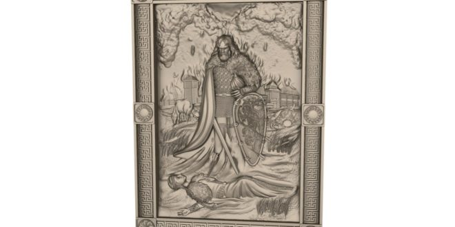 Gothic medieval 3d frame relief stl 1618