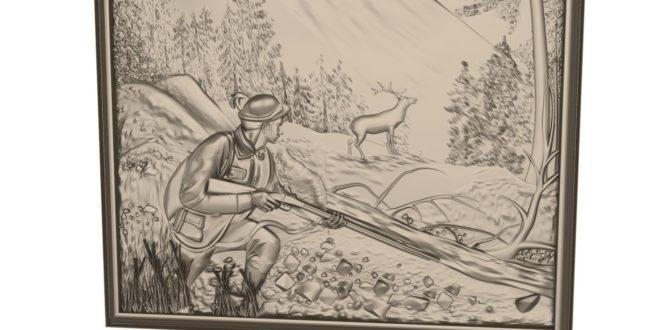 3D picture frame model hunter deer stl 1620