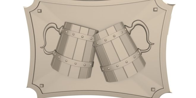 Cup beer chopp 3d relief decor party area stl cnc 1630