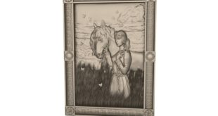 Frame 3d relief lady with her horse stl cnc model 1633