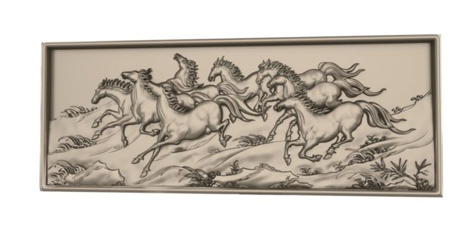 Horses relief cut 3d model cnc router file 1641