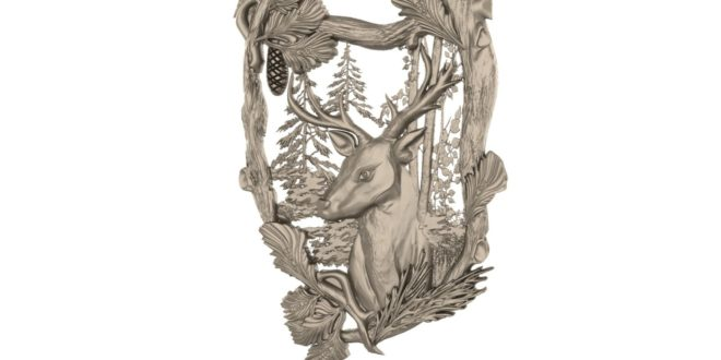 Deer 3d relief to download model cnc 1650