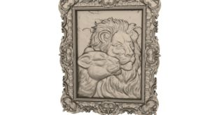 3D Frame lion couple cnc router or 3d print file 1651