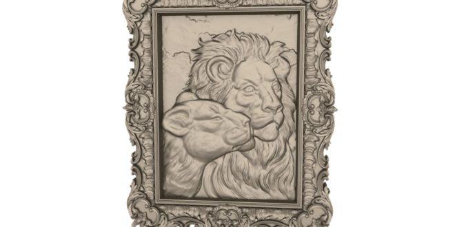 3D Frame lion couple cnc router or 3d print file 1651
