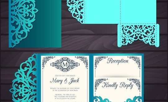 File SVG DXF laser cut paper cutting postal cards wedding envelope
