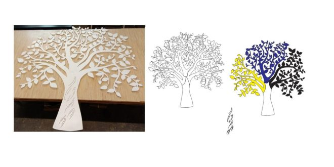 Free cnc file Tree Wall separate parts cdr dxf