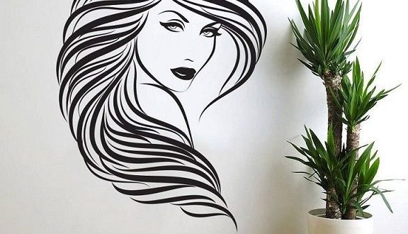Free download wall sticker vector to cut Girl wall panel