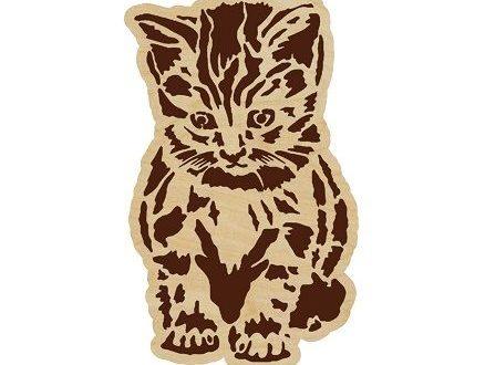 Free cnc laser cut and engraving files download Kitten_panel