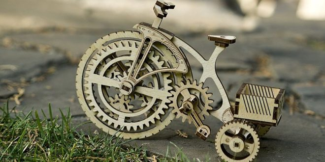 Free laser cut dxf Wooden Mechanical bike with pdf instruction
