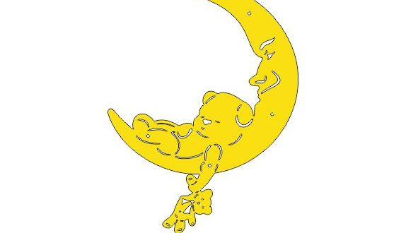 Free silhouette dxf decorative moon for kids rooms