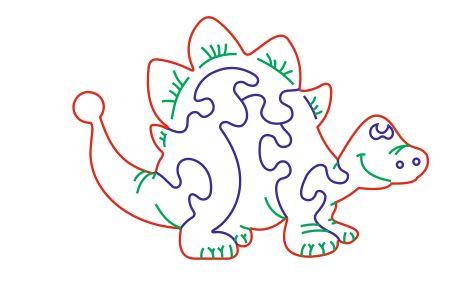 Laser Cut file dinosaur puzzle cdr dxf vectors