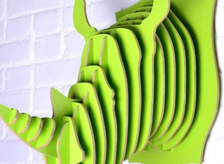 Free laser cut plan 3D Rhino Head Puzzle Wall Decor