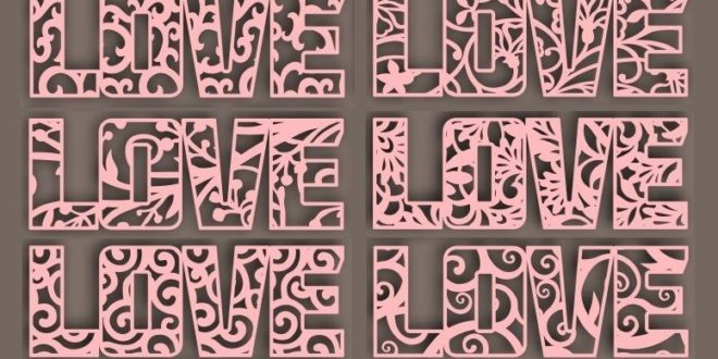 Cnc Cut 6 love word templates dxf cdr