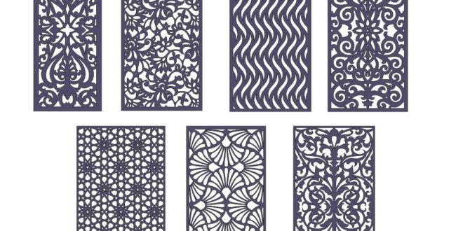 Pack 7 panels 2d grid laser cut cnc cut dxf vector