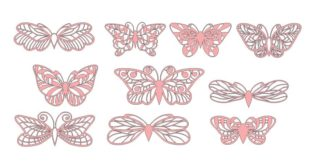Free Butterflies Vectors Set dxf cricut papercut silhouette craft