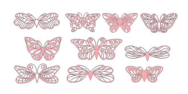 Free Butterflies Vectors Set dxf cricut papercut silhouette craft
