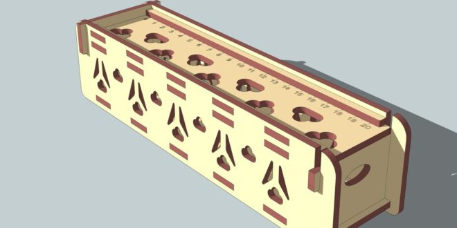 Laser Cut DXF CDR Case with cover and ruler 4mm