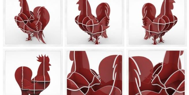 Cnc File 3D Cock Rooster Chicken Puzzle Cutting Parts for Assembly