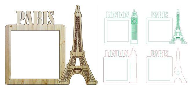 Free london paris photo frame laser cut and engraving
