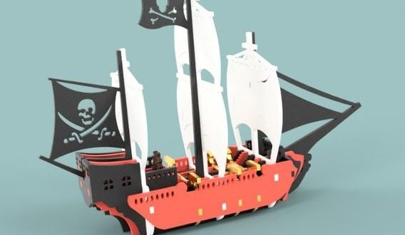 Laser Cut dxf template file pirate ship