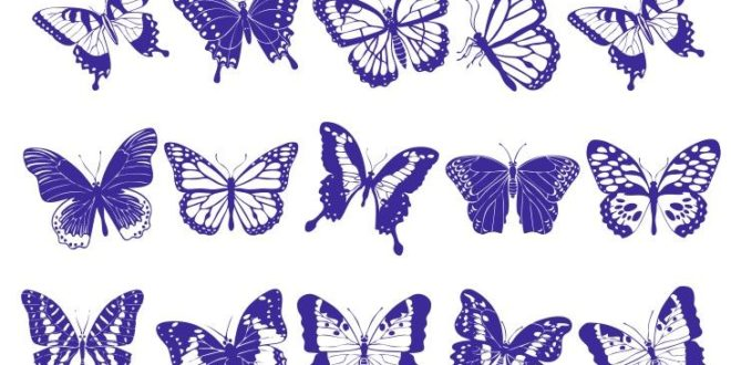 Free Files Laser engraving Vector  Set of butterflies