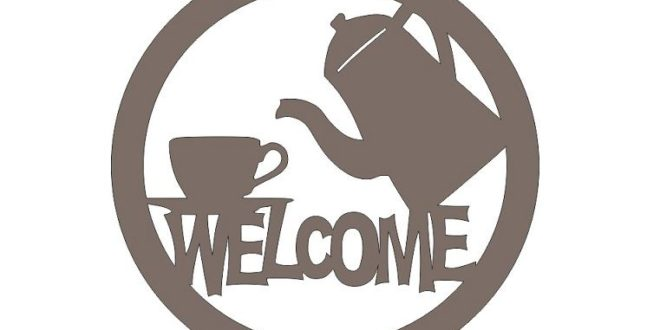 Free 2d cnc cut design welcome coffee