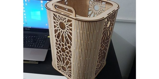 Free laser cut template download basket with handles