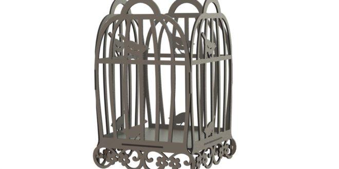 Dxf laser cnc machine file vector bird cage 002