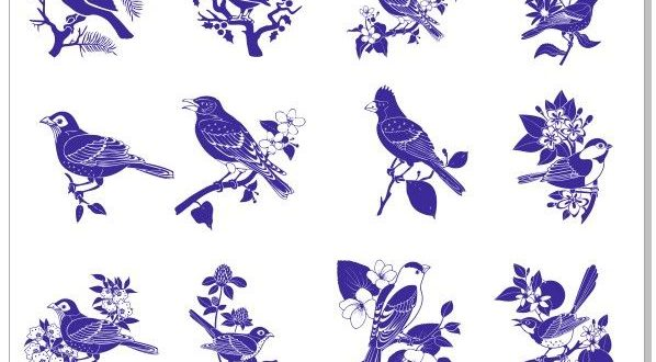 """Laser Engraving a set of """"Birds on the branches"""" vectors Download"""