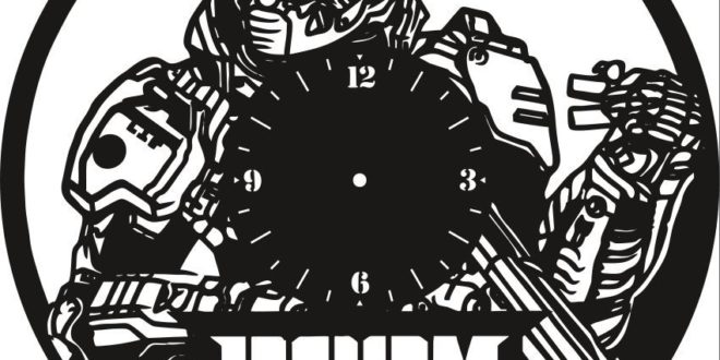 Free vector doom game wall clock cut file dxf