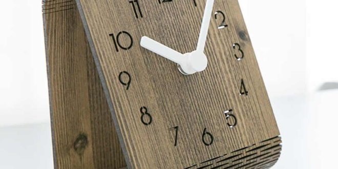 Laser cut wooden folding watch clock office