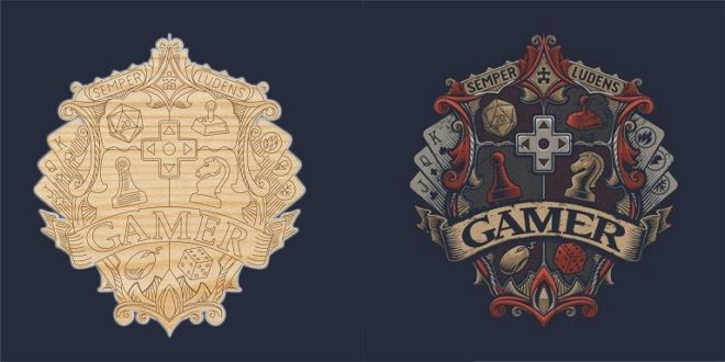 Free Laser cut engrave gamers logo cdr dxf