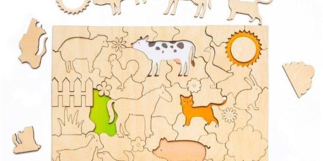 Kids toy laser cut jigsaw puzzle-farm animals