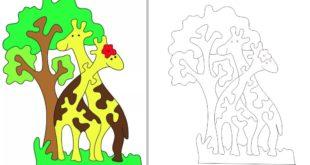 Free cnc cut plan jigsaw puzzle giraffe kids