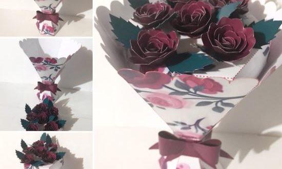 Silhouette Studio mini bouquet of flowers papercraft scrapbook
