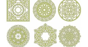 Pack Vectors 6 Mandalas cdr dxf files to cut