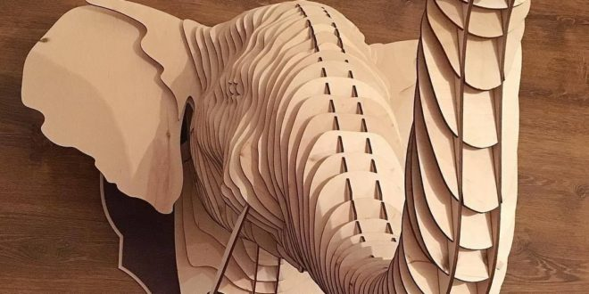 Wall Elephant head Laser cut plan download cdr dxf