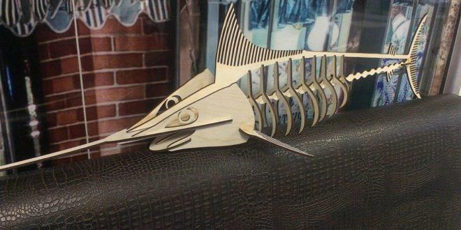 Free fish swordfish cnc wood cut file vector download
