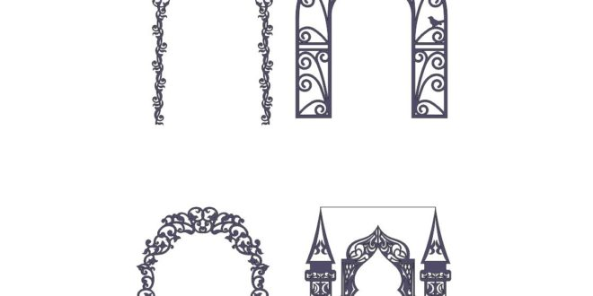 4 models wedding arches decoration cut cnc silhouette