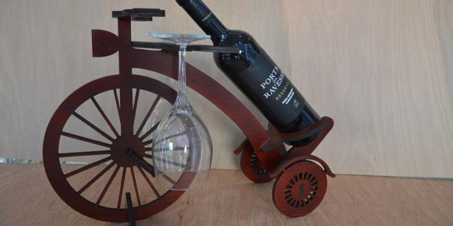 Free cnc cut wood file wine holder bike