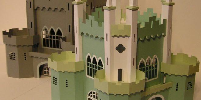 Papercraft silhouette studio 3d big castle .dxf .svg .studio