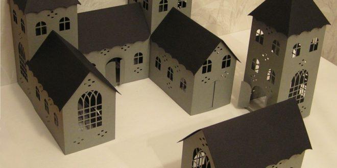 Paper cut scrap craft silhouette studio 3d small castle .svg .dxf .studio files